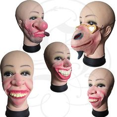 Half Face Comedy Funny People Face Masquerade Stag Fancy Dress Latex Party Mask