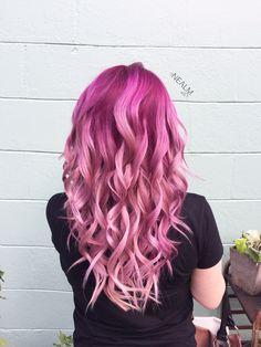 Berry sorbet. Pink metallic hair ombré magenta hair color by @nealmhair