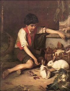 ''Child with rabbits '' Polychronis Lembesis Location: National Gallery ,Athens Vintage Artwork, Vintage Posters, Greek Paintings, Madonna Art, National Gallery, Greek Art, Art Database, Cute Illustration, Figure Painting
