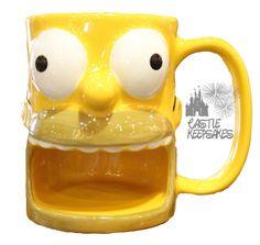 Universal Studios Simpsons Homer Coffee Mug Cup Donut Holder KRUSTYLAND Parks exclusive