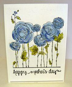 Cards-by-the-Sea: Spring Break Recap-Stampendous-Ranunculus Floral Drawing, Envelope Art, Making Greeting Cards, Flower Doodles, Motif Floral, Watercolor Cards, Watercolour, Fathers Day Cards, Flower Cards