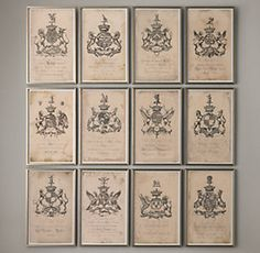 18th C. English Armorial Engravings from Restoration Hardware