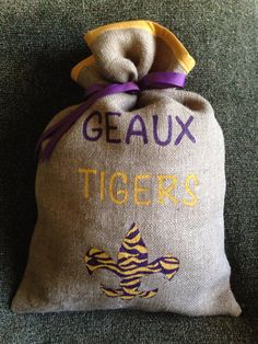 GEAUX LSU Burlap Bag by BecauseILove2 on Etsy, $25.00