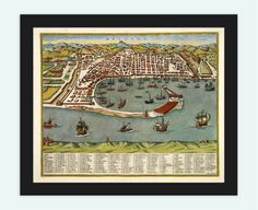Old Map of Messina 1590 Antique Vintage Italy by OldCityPrints