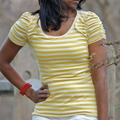 Yellow Stripes ruched sleeves tee