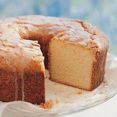 "Sour Cream Pound Cake - I make it with Greek yogurt instead of sour cream and I make it as cupcakes rather than a cake - 350 for 16-18 minutes.  They taste like a combination of pound cake and angelfood.  I call them ""Ounce Cakes"".  :)"