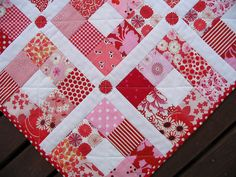 nine patch strawberry patches quilt