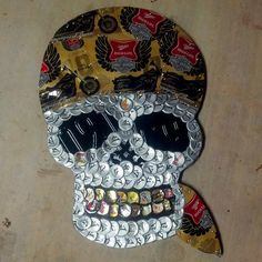 Biker Skull Beer Cap Art Check us out on Facebook/madcapcreations!