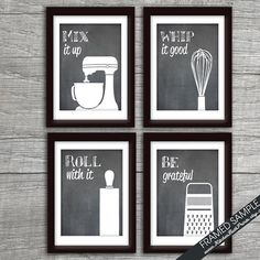 Funny Kitchen Art Print Set (Mixer, Whisk, Rolling Pin and Grater) Set of 4 5x7 Art Print (Featured on Blackboard)
