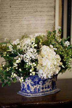 I have this Spode Cache Pot + love this arrangement. Previous Pin: White flowers with blue & white is always beautiful