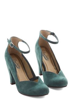 1950s Style Shoes: Electrify Heel in Aegean