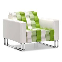 Unique And Modern White And Green Accent Arm Chair With Ripples