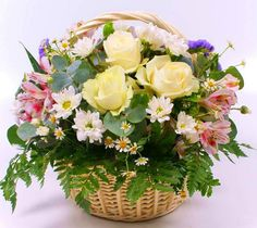 Basket Flower Arrangements, Beautiful Flower Arrangements, Floral Arrangements, Beautiful Bouquet Of Flowers, All Flowers, Colorful Flowers, Fruit Flower Basket, Share Pictures, Window Box Flowers
