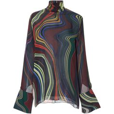 BY. Bonnie Young Straight Jacket Blouse ($825) ❤ liked on Polyvore featuring tops, blouses, print, multicolor blouse, print top, long sleeve blouse, colorful tops and long sleeve tops