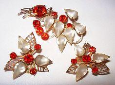 Beau Jewels Brooch Earring Set Orange Red by BrightgemsTreasures