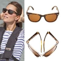 The Duchess of Cambridge was first spotted wearing Ray-Ban folding wayfarers during the 2014 Royal Tour of New Zealand/Australia.   Kate wears the tortoise frame and owns two pairs, onw with a polarized lens and another that is non-polarised.