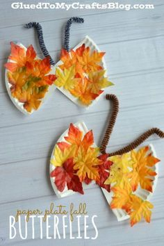 Paper Plate Fall Butterflies - Kid Craft Idea