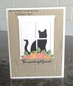 Although I am not a cat lover or a Halloween card maker, I love the new Stamping' Up! Cat Punch that is in the 2017 Holiday Catalog. I just think it is very cute and as long as it doesn't cross my pat Scrapbook Cards, Dog Cards, Kids Cards, Pet Sympathy Cards, Punch Art Cards, Window Cards, Marianne Design, Stamping Up Cards, Gatos