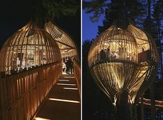 Treehouse Restaurant in Auckland, New Zealand was designed by Peter Eising and Lucy Gauntlett from Pacific Environments Architects