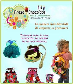 Fresa y Chocolate en Yecla tiene para ti una selección de bolsos de lo más original para empezar esta primera ¿te los vas a perder? ven , te esperamos !!!!