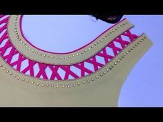 piping fabric patti (gota) and bridal stone neck designIn this video I will show you piping fabric patti and bridal stone neck design cutting. Chudithar Neck Designs, Salwar Neck Designs, Neck Designs For Suits, Kurta Neck Design, Saree Blouse Neck Designs, Neckline Designs, Dress Neck Designs, Saree Jacket Designs, Patch Work Blouse Designs