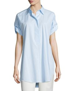 TBVLL MM6 Maison Margiela Short-Sleeve Cotton Poplin Tunic, Sky Blue