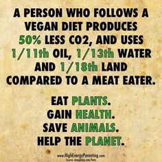 Effect of the food we eat on the environment. Eat plants, gain health, save animals and help the planet. Vegan Facts, Vegan Memes, Vegan Quotes, Why Vegan, Vegan Vegetarian, Whole Food Recipes, Vegan Recipes, How To Become Vegan, Vegan Animals