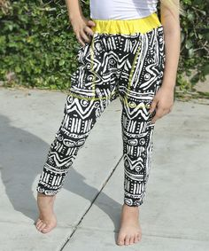 Look what I found on #zulily! Black & White Tribal Harem Pants - Toddler & Girls by Knuckleheads #zulilyfinds $19.99