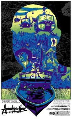 Apocalypse Now Movie Poster, high detail, strong layers and contrasting colours.