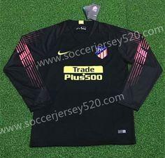 c4a34b08424 2018-19 Atlético Madrid Goalkeeper Blue Thailand LS Soccer Jersey AAA