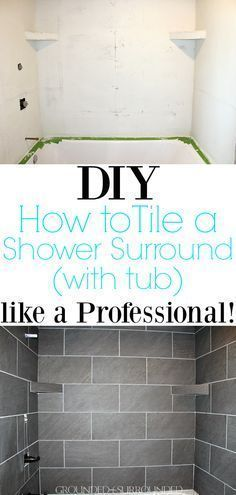 DIY How to Tile a Shower Surround with Tub | This master suite bathroom is spacious and luxurious. These grey ceramic tile ideas and designs are simple and beautiful for a remodel or new home build. This tutorial to install your own large tile on a budget will make you feel like a professional! Plus, we show you how to make gray shelves to hold your items and enjoy that rainfall shower head. Ooohh laaa laaa! #farmhouse #tile #rustic #simplebathroomremodel #largebathroomremodeling