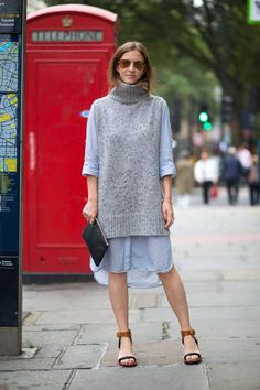 Sweater overlayer for a different look for fall, while getting more use out of a favorite summer dress.  IMAGE