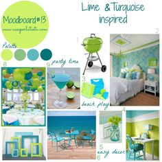 Moodboard#13 - Lime& Turquoise  that seemed perfect for spring days as these days: fresh and sparkling! An early summer! Join me with your moodboard, each Wednesday till next Monday! #mymoodboardonwednesday #linkparty #lime #turchese #colors #turquoise