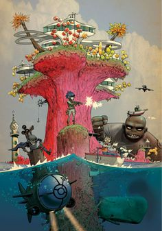 All on plastic beach Murdoc have his cape back so hot and in a boat the picture come from this site [link] Gorillaz (c) Jamie Hewlett and Damon. Gorillaz on Plastic beach Art Gorillaz, Gorillaz Wiki, Gorillaz Plastic Beach, Illustrations, Illustration Art, Jamie Hewlett Art, Art Tumblr, Band Posters, Cool Bands