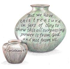 Jars of Clay drawing. Inspirational bible verse print