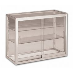 Tall Counter Display Case  sc 1 st  Pinterest & Retail Counter w/ Cherry Base Frameless Tempered Glass Design ...