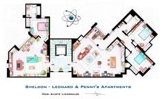 """The apartments of Sheldon, Leonard and Penny from """"THE BIG BANG THEORY"""".  This is a hand drawed plan, in scale, coloured with colour pens and with full details of furniture and complements...  The design is made according with the """"real"""" apartments respecting spaces, proportions, furniture and objets presents in the studio.  (Some sets have changed through the different seasons). You can buy an original artworks here: http://www.etsy.com/shop/FLOORPLANSTV or writting me to: ializar@hotmail.c..."""