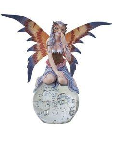 "7.5/"" Blue Fairy LED Light Crystal Ball Statue Figurine Figure Fantasy"