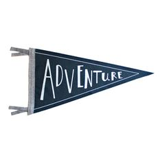 Adventure Wool Pennant Flag, Wall Hanging, Screenprinted Flag, Children Room Decor, Adventure Kids D