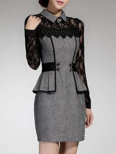 Lace Patchwork Charming Lapel Bodycon Dress