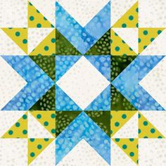 Wyoming Valley Star Quilt Block This week's practice block is the Wyoming Valley Star. It is drawn with a 6 x 6 grid. And here is how it looks set side-by-side in a straight set: How about a little color to add a spark to t… Star Quilt Blocks, Star Quilts, Quilt Block Patterns, Pattern Blocks, Scrappy Quilts, 24 Blocks, Half Square Triangle Quilts, Square Quilt, Wyoming