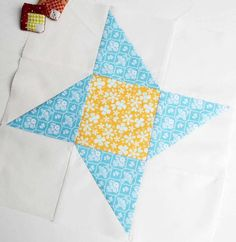 """Block 25 - Ninja Star. This 12"""" block is the second for the Modern HST Sampler sew-along over at Blossom Heart Quilts."""