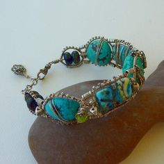 Seafoam 2  Eni Oken Style Coiled Bangle by pippijewelry on Etsy, $330.00