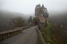 Burg Eltz - by Yana Zimina - (Eltz Castle is a medieval castle nestled in the hills above the Moselle River between Koblenz and Trier, Germany. Great Places, Beautiful Places, Eifel, Medieval Castle, Tower Bridge, National Geographic, Barcelona Cathedral, Mount Rushmore, Cool Photos