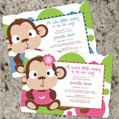 Little Monkey  Cute Colorful Baby Shower Invitations by Whirlibird, $12.99