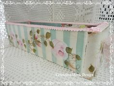 Vintage Sewing Machine Drawer, Shabby Chic Rose Painted with inside Paper Embellishments, ECS, CSSTeam