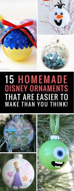 Homemade Disney Ornaments - My kids are going to go crazy when they see these ideas - they've always wanted to fill the tree with Disney princesses and Mickey Mouse! | DIY Disney Ornaments | Make Your Own Disney Christmas Ornaments