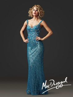 Lavishly Embellished Blue Evening Gown| Mac Duggal 78709D  This is the back of the blue gown in white...whew pretty!