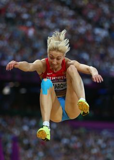Anna Nazarova of Russia competes in the Women's Long Jump Final