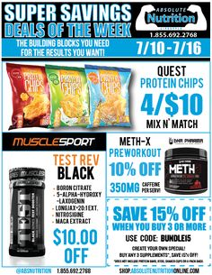 This week, save on @questnutrition protein chips, Muscle Sport International Test Rev Black, Meth-X Preworkout, and our bundle deal!
